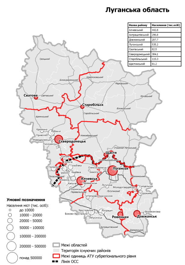 Нові райони Луганської області