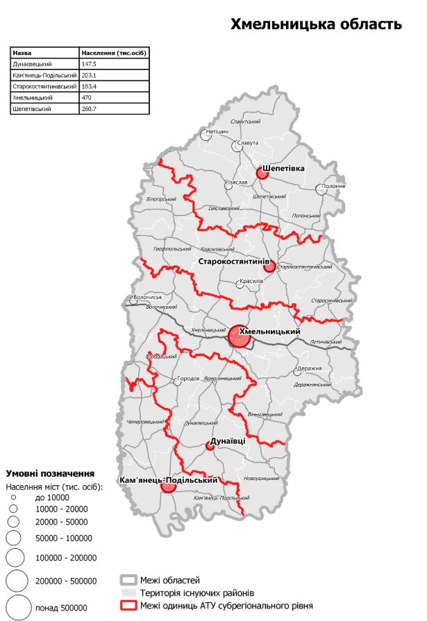 Нові райони Хмыльницької області